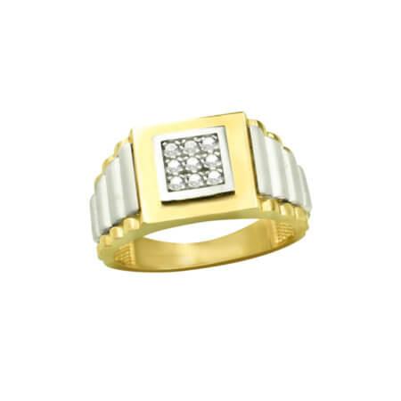 Χρυσό Δαχτυλίδι Ανδρικό Λευκόχρυσο 14 Καρατίων Ζιργκόν