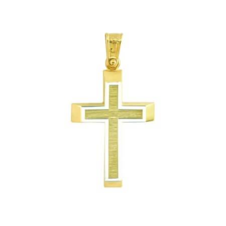 Χρυσός Σταυρός 9 Καράτια Λευκόχρυσο Περίγραμμα Γάμος Αρραβώνας Βάπτιση