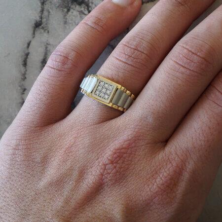 Αντρικό Δαχτυλίδι Χρυσό 14Κ Ζιργκόν Πέτρες