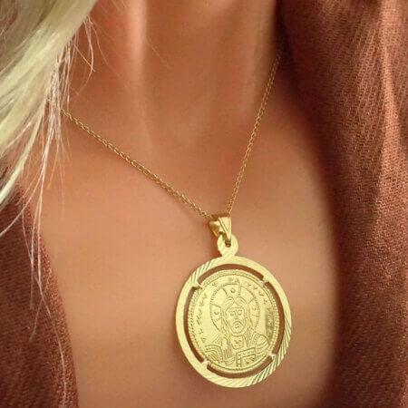 Κρεμαστό Κωνσταντινάτο Χρυσό 9Κ Διπλής Όψεως Κόσμημα