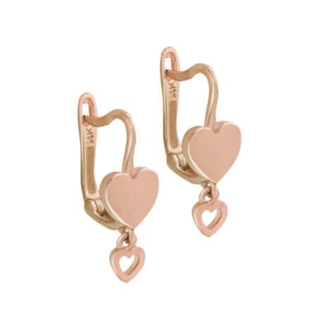Ροζ Χρυσά Σκουλαρίκια Καρδιές 14 Καρατίων Γυναικεία