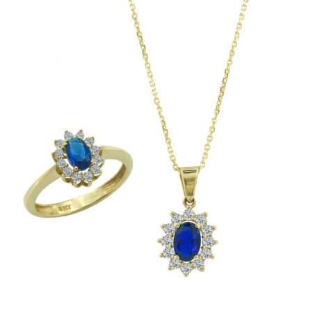 Σετ Κοσμημάτων Χρυσό 9 Καρατίων Ροζέτα Ζιργκόν Μπλε Πέτρα Γυναικείο Αρραβώνας Γάμος