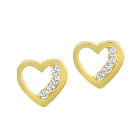 Σκουλαρίκια Χρυσά 14 Καρατίων Καρδιές Ζιργκόν Λευκές Πέτρες Γυναικεία