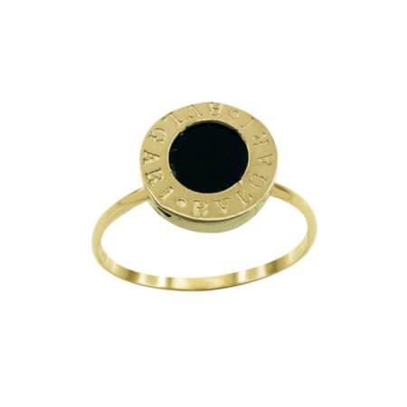 Χρυσό Δαχτυλίδι 9Κ Μαύρο Σμάλτο Γυναικείο