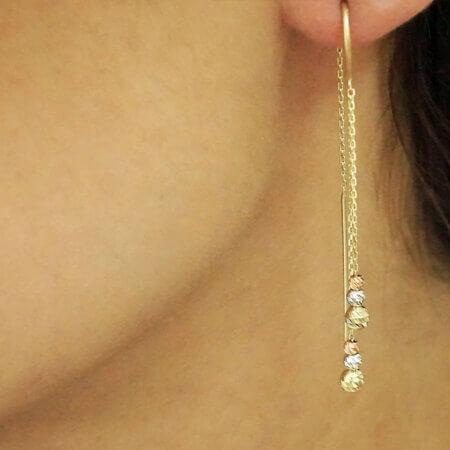Χρυσά Γυναικεία Σκουλαρίκια Διπλή Αλυσίδα Μπίλιες 14Κ Κόσμημα Δώρο