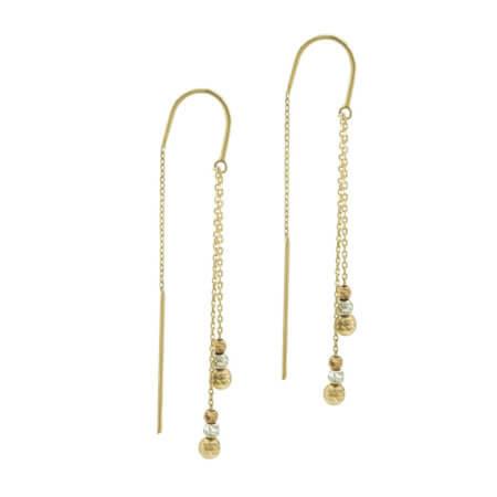 Χρυσά Κρεμαστά Σκουλαρίκια 14 Καρατίων Γυναικεία Διπλή Αλυσίδα Μπίλιες Χρυσές Λευκόχρυσες