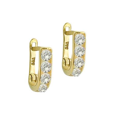 Χρυσά Σκουλαρίκια 14 Καρατίων Με Ζιργκόν Λευκές Πέτρες Μοντέρνα Γυναικεία