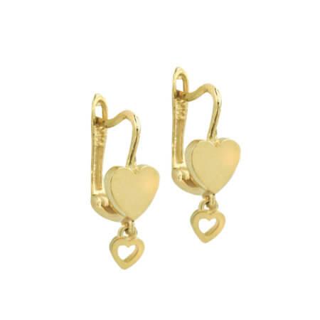 Χρυσά Σκουλαρίκια Καρδιές 14 Καρατίων Γυναικεία