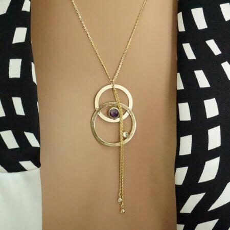 Χρυσό Κρεμαστό με Πέτρες Ζιργκόν Αμέθυστος Κολιέ 9 Καράτια Γυναικείο