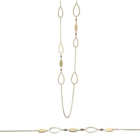 Χρυσό Σετ 14 Καράτια Μοτίφ Ζιργκόν Πέτρες Γυναικείο Βραχιόλι Κολιέ