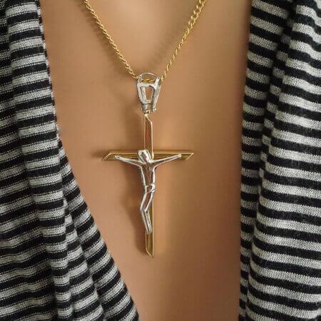 Ανδρικός Σταυρός Χρυσός 14Κ Λευκόχρυσος Εσταυρωμένος Αρραβώνας Γάμος Βάπτιση