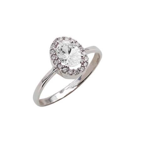 Ασημένιο Δαχτυλίδι με Ζιργκόν Πέτρα Ροζέτα