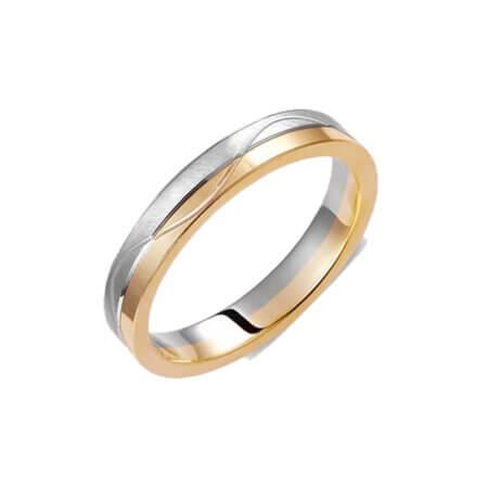 Βέρες Κίτρινο Χρυσό Λευκόχρυσο 14Κ Σχέδιο Χάραξης Γάμου
