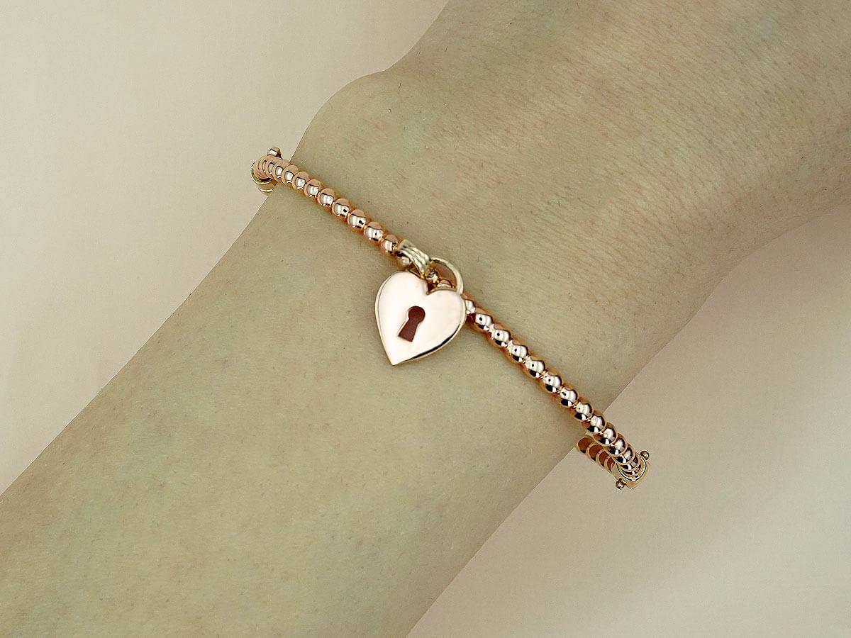 Βραχιόλι Χειροπέδα Γυναικείο Ροζ Χρυσό 14Κ Καρδιά