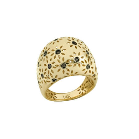 Δαχτυλίδι Με Μαύρες Πέτρες Χρυσό 14Κ