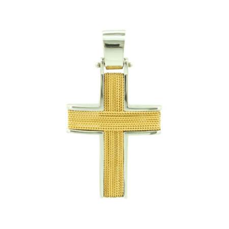 Χειροποίητος Δίχρωμος Σταυρός Βάπτισης Χρυσό 14Κ