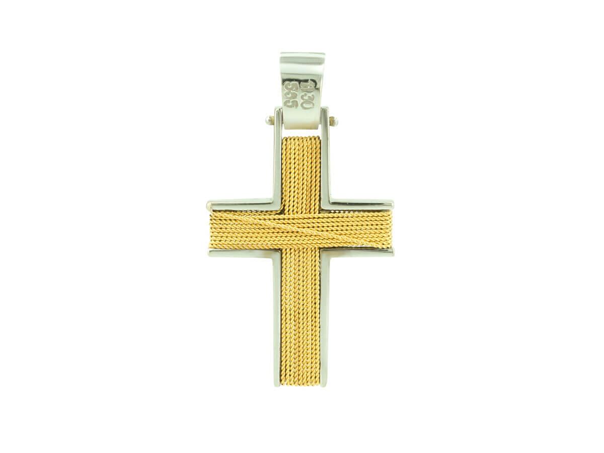 Δίχρωμος Σταυρός Βάπτισης Χρυσό 14Κ