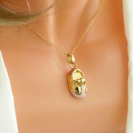 Γυναικείο Μενταγιόν Χρυσό 14 Καρατίων Ροζ Σμάλτο Παπουτσάκι Παιδικό