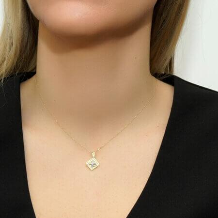 Κωνσταντινάτο Με Αλυσίδα Ασήμι 925 Ζιργκόν Πέτρες
