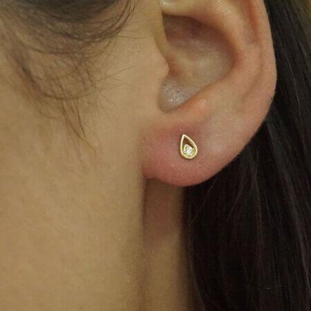 Μικρά Σκουλαρίκια Χρυσά 14Κ Ζιργκόν Πέτρες Γυναικείο Κόσμημα