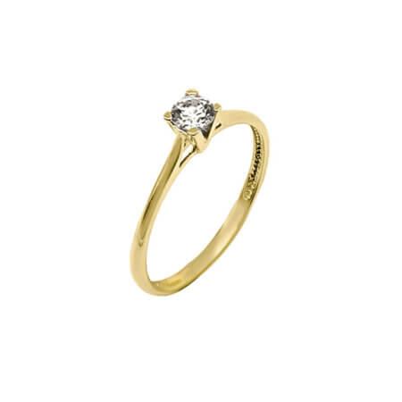 Μονόπετρο Χρυσό Δαχτυλίδι 14Κ Ζιργκόν