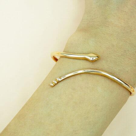Μοντέρνο Βραχιόλι Ροζ Χρυσό Φίδι 14Κ Γυναικείο