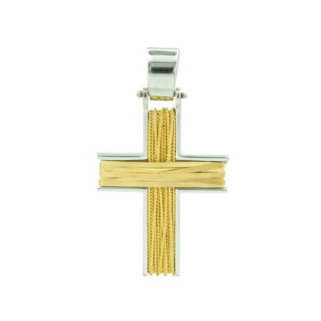 Χειροποίητος Μοντέρνος Χρυσός Σταυρός 14Κ