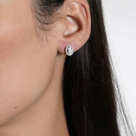 Σκουλαρίκια Μονόπετρα Ροζέτες 925 Ζιργκόν Πέτρες