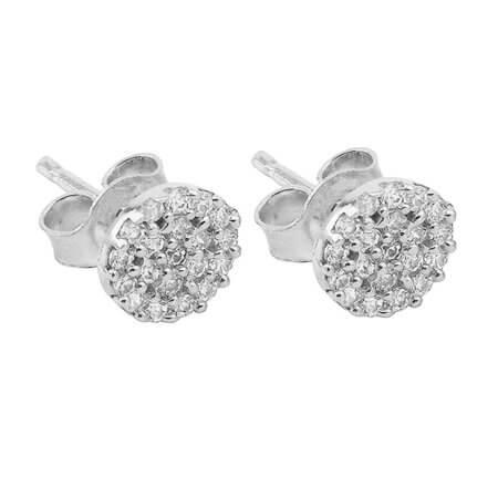 Ασημένια Σκουλαρίκια Καρφωτά Ροζέτες 925 Με Λευκές Ζιργκόν Πέτρες