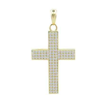 Χρυσός Σταυρός Με Ζιργκόν Πέτρες Διπλής Όψης 14 Καράτια Γυναικείος