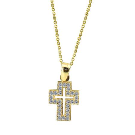 Σταυρός Με Ζιργκόν Ασήμι 925