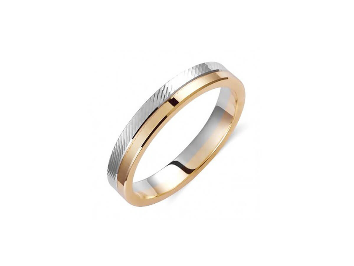 Βέρα Δίχρωμη Γάμου 14 Καρατίων