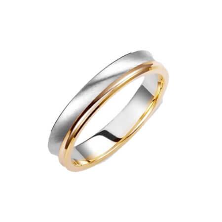 Βέρες Δίχρωμες Λευκόχρυσες με Χρυσό 14 Καρατίων Γάμου Αρραβώνα