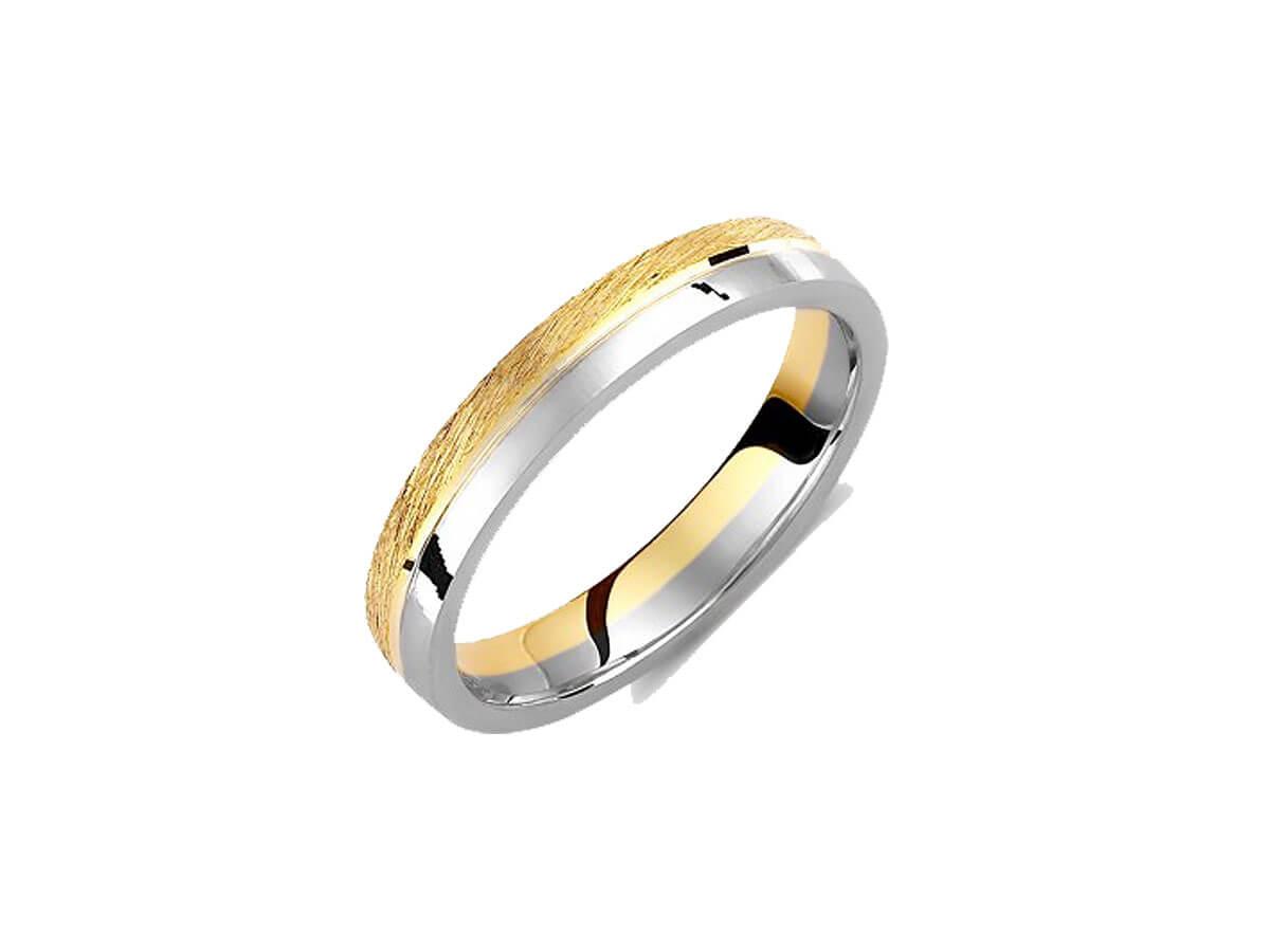 Βέρες Γάμου με Ιδιαίτερο Σχεδιασμό Δίχρωμες 14Κ