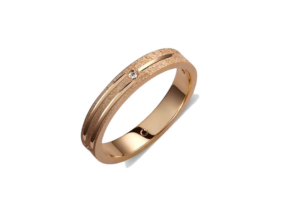 Βέρες Ροζ Χρυσό 14Κ Γάμου Αρραβώνα Ζιργκόν Πέτρες