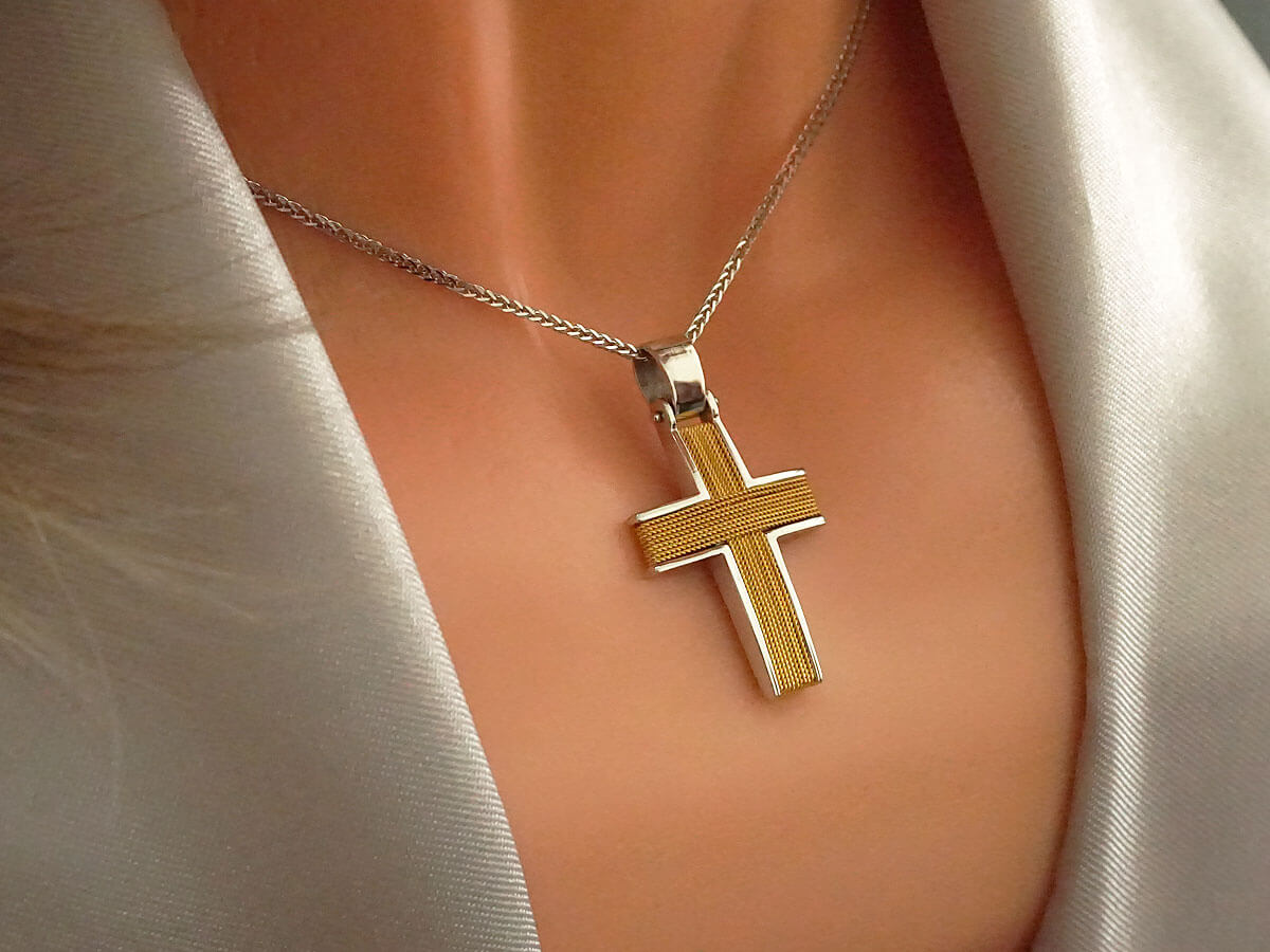 Χρυσός Χειροποίητος Δίχρωμος Σταυρός Βάπτισης Αρραβώνα Κίτρινο Λευκό Χρυσό 14Κ