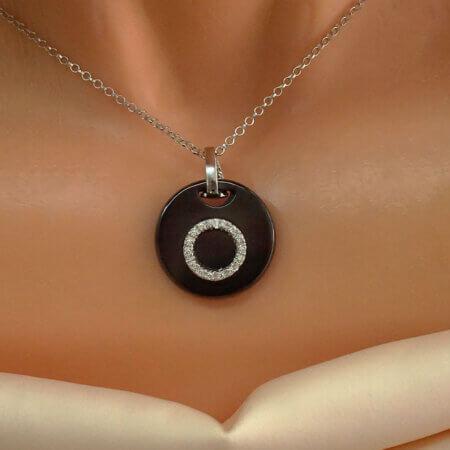 Ασημένιο 925 Κολιέ με Μαύρο Όνυχα Ζιργκόν Πέτρες Λευκές Γυναικείο
