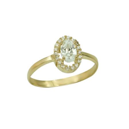 Ασημένιο Δαχτυλίδι Ροζέτα Επίχρυσο 925 Ζιργκόν Πέτρες