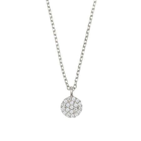 Ασημένιο Κολιέ Ροζέτα 925 Ζιργκόν Λευκές Πέτρες Γυναικείο