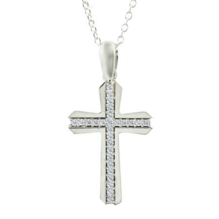 Ασημένιος Σταυρός Γυναικείος με Αλυσίδα 925 Ζιργκόν Λευκές Πέτρες