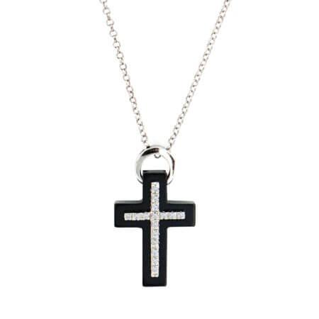 Ασημένιος Σταυρός Γυναικείος 925 Με Μαύρο Όνυχα Και Ζιργκόν
