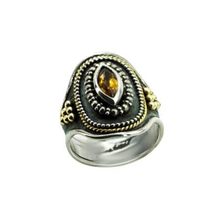 Δαχτυλίδι Ασημόχρυσο με Πέτρα Citrine Χειροποίητο 950 18Κ Γυνακείο