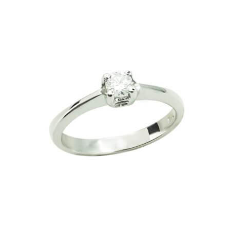 Δαχτυλίδι Μονόπετρο με Διαμάντι Μπριγιάν Λευκόχρυσο 18Κ Γυναικείο Πρόταση Γάμου Αρραβώνας