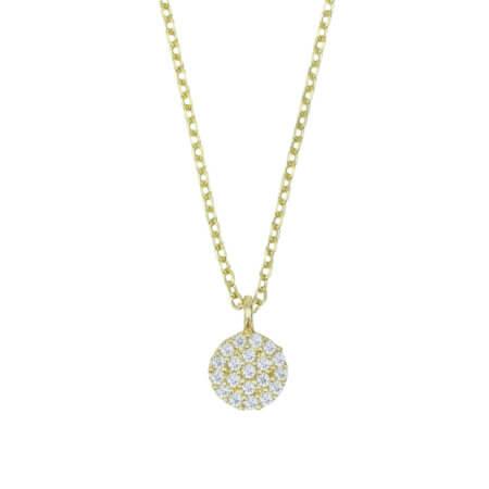 Επίχρυσο Κολιέ Ροζέτα 925 Ζιργκόν Πέτρες Λευκές Αλυσίδα Λαιμού Γυναικείο