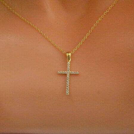 Επίχρυσος 925 Σταυρός με Ζιργκόν Πέτρες Λευκές Αλυσίδα Γυναίκα Κορίτσι