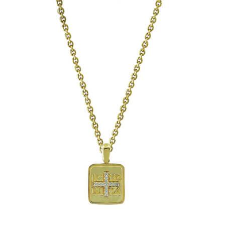 Φυλαχτό με Αλυσίδα Επιχρυσωμένο Ασήμι 925 Ζιργκόν Πέτρες