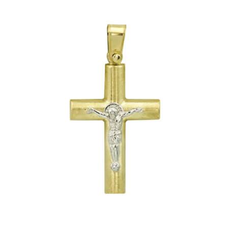 Χρυσός Σταυρός για Βάπτιση Αρραβώνα Γάμο 9 Καράτια Λευκόχρυσο Αγόρι Κορίτσι