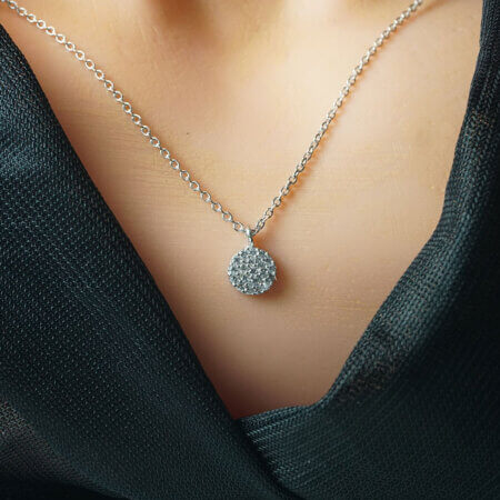 Γυναικείο Ασημένιο Κολιέ Ροζέτα 925 Πέτρες Ζιργκόν Αλυσίδα Λαιμού