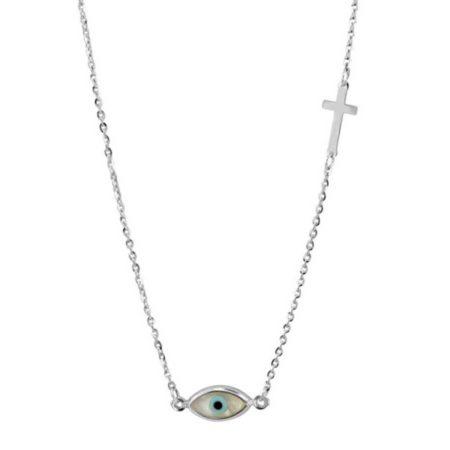 Γυναικείο Λευκόχρυσο Κρεμαστό Με Μάτι Και Σταυρό 9 Καρατίων