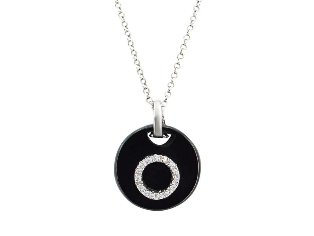 Κολιέ με Μαύρο Όνυχα Ζιργκόν Πέτρες Λευκές Γυναικείο Ασήμι 925